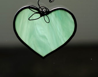 Large Turquoise Stained Glass Heart