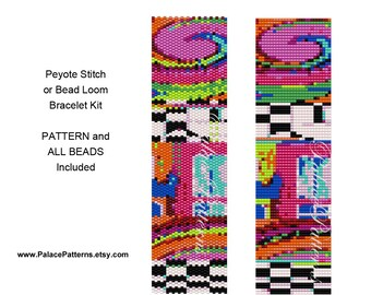Bead Loom Weaving Bracelet KIT or Peyote Stitch Bracelet KIT - Pattern and All Delica Beads Included - PP149 Loom KIT P6