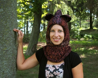 Hooded Cowl with Bear Ears - Red Chunky Hand Knit Cowl Scarf - Knitted Snood - Hooded Scarf