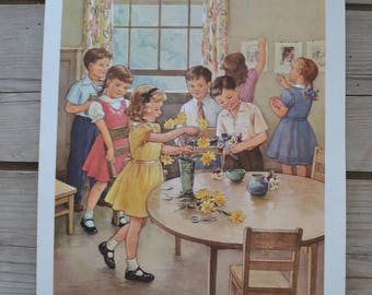 Vintage Providence Lithograph Sunday School Family Sunday School Class Spring Flowers Print Art