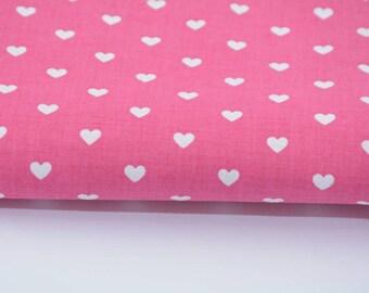 100% cotton fabric piece 160 x 50 cm, textile printing, 100% hearts cotton white on fuchsia background