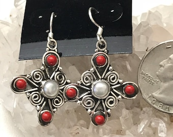 Red Coral and Pearl Earrings
