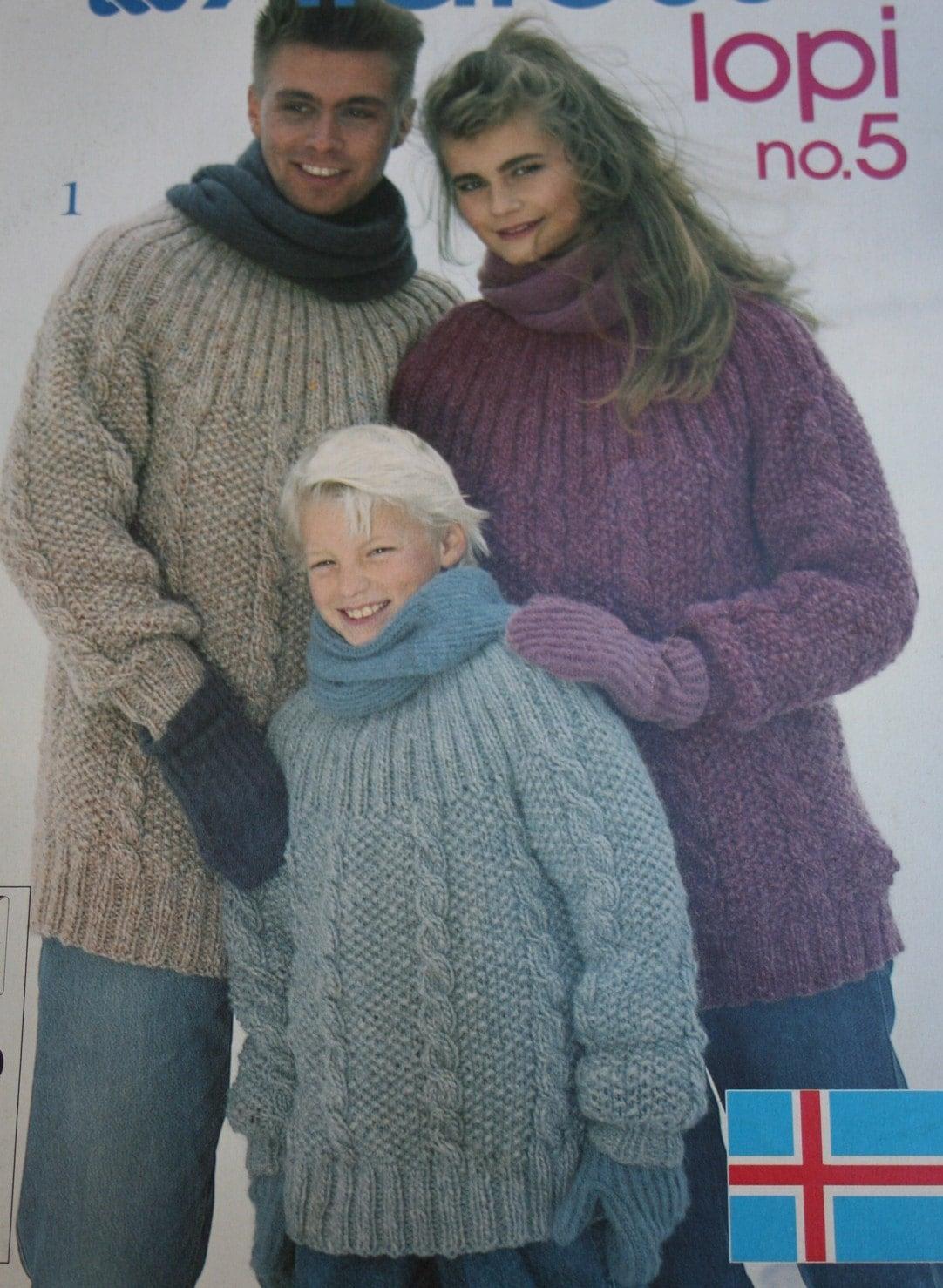 Sweater Knitting Patterns Cardigan Vest Alafoss Lopi 5 Men Women ...
