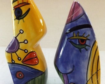 Picasso Style Handpainted Muzeum Salt and Pepper Shakers