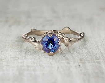 Nature Inspired Engagement Ring. Sapphire Engagement. 5mm Blue Sapphire Ring. Mason Solitaire Ring. Yellow Gold, White Gold, Rose Gold.