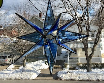"3-D Beveled Blue Cluster Star with Open Center Sun-catcher 8"" X 8"", Christmas Star"