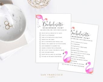 Bachelorette Scavenger Hunt Game   Bachelorette Party Game   Flamingo, Florida   FLAMINGO Collection   Printable, Instant Download PDF file