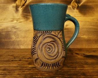 Teal rose mug