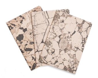 SALE -Mineral Stone lot of 3 notebooks - marbled pastel rose and black notebooks - blank - STO6001