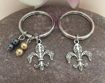 Fleur De Lis Keychain New Orleans Saints NOLA Silver Fleur De Lis Charm Saints Colors Beads Louisiana NO Saints Jewelry Mardi Gras Keychain