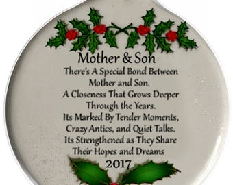 Mother & Son Special Bond Love Porcelain Christmas Ornament Rhinestone accent