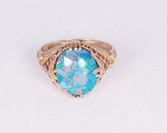 10K  Retro Yellow Gold Filigree Opal Ring, size 6.75