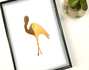 Framed flamingo artwork, foil print,gold flamingo print,flamingo wall art,animal prints,rose gold flamingo,flamingo poster, mothers day gift