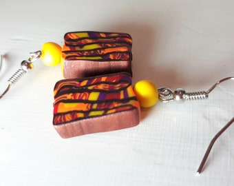 Handmade Polymer Clay Earrings- Stroppel Cane in Bronze with Yellow, Orange and Purple