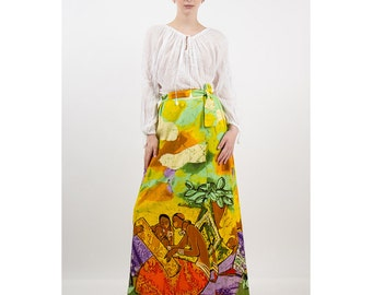 Vintage maxi skirt / 1970s African style Novelty print cotton batik / Mother and child / S