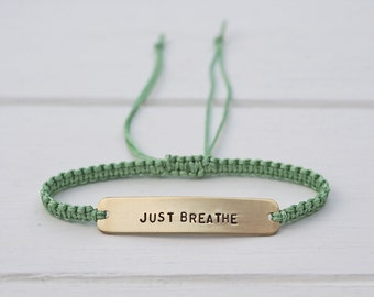 Just Breathe Sterling Silver or Brass and Macramé Bracelet, Choice Of Colours Available. Friendship Bracelet