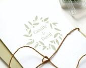 Leaf Wreath Stamp, Wedding stamp, Floral Wreath Stamp, Name Stamp, Custom Wedding Stamp, Wedding Favor Stamp, Laurel wreath, Monogram Stamp