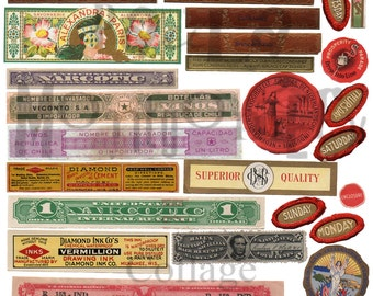 Strips and Seals Number 1 Digital Download Collage Sheet