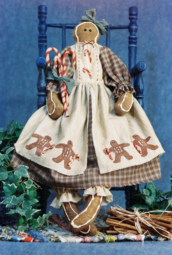 Candy - Mailed Cloth Doll Pattern 24in Holiday Gingerbread Doll