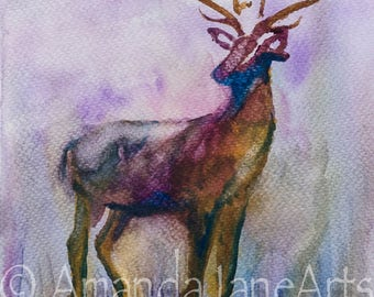 Single Stag, original, deer, stag head, watercolour,painting, picture, abstract ,animal, picture,print, art, gift