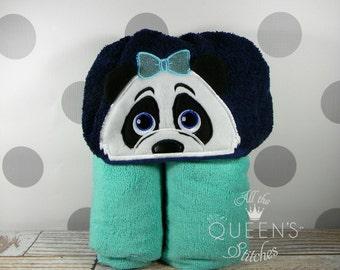 Kid's Girl Panda Hooded Towel - Cute Girl Panda Hooded Towel - Panda Towel for Bath, Beach, or Swimming Pool