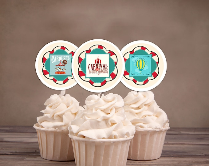 Carnival Cupcake Toppers, Circus Cupcake Toppers, Custom Cupcake Toppers, Vintage Circus, Baby Shower, Party Favor, Birthday Party