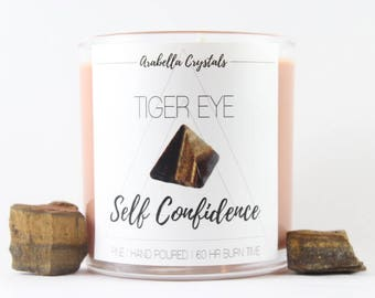 Tiger Eye Crystal Candle / Crystal Candle / Pine / Soy Candle / Self Confidence