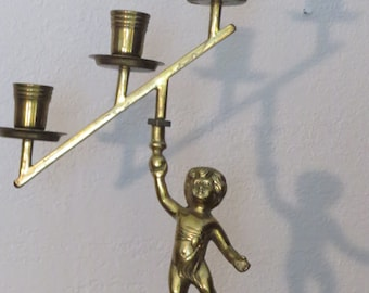 Vintage Victorian Style Brass Cherub Candlestick holder - Ornate Brass Cherub Candelabra