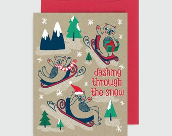 Holiday Card - Sledding Bears