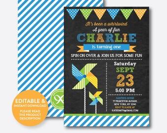 Instant Download, Editable Pinwheel Birthday Invitation, Pinwheel Invitation, Pinwheel Party Invitation, Boy Invitation, Chalkboard(CKB.09B)