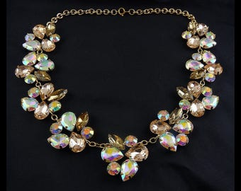 Pink Champage & AB Rhinestone Clusters Necklace - Multi Shapes