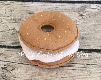 Felt Pretend Play Bagel with Cream Cheese