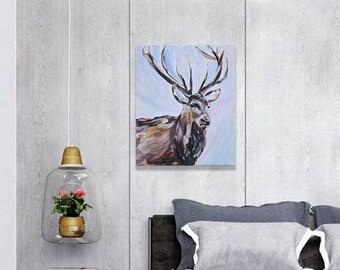 "Stag Painting Art Acrylic Original // ""10 x 12"" canvas"