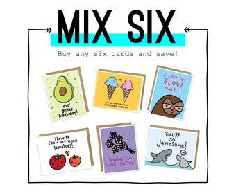 Mix Six card set from Tiny Gang Designs. Pick 6 Cards and Save! You Pick. Bundle Set. Card Set. Box Set of Cards. Choose Six Cards. #mixsix