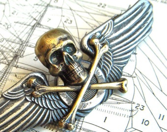 Steampunk Pin Brass Skull & Crossbones Mixed Metals Rustic Primitive Finish Antiqued Silver Vintage Inspired Cosplay Badge
