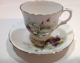 Crown Staffordshire Fine Bone China Tea Cup and Saucer Violets and Crocus