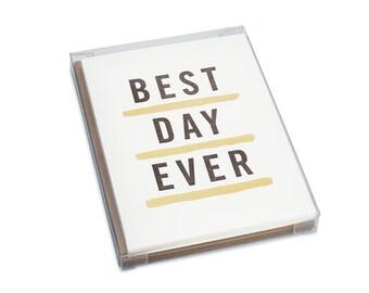 Letterpress Best Day Ever Card Set of 6