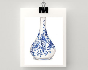 REPRODUCTION PRINT Blue and white china vase watercolour print.