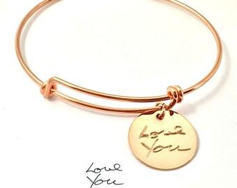 Actual Handwriting Bracelet - Rose Gold  Engraved Signature Disc Bracelet - Memorial Bracelet - Custom Disc Bracelet - Adjustable bracelet