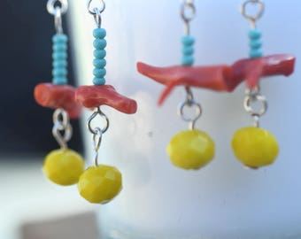 Modern Native Red Branch Coral Earrings