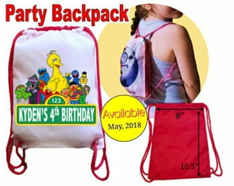 """Sesame Street Party, 10 Personalized Party Backpacks, Sesame Street Drawstring Backpack, Sesame Street Favor Bags,""""Free Personalization"""""""