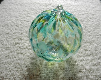 Light Catcher Ornament - Teal with Lime