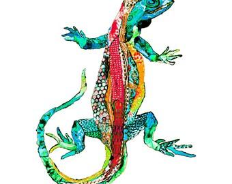 illustrated gecko postcard, art card lizard, art postcard,  colorfull lizard print, animal greetings card -Eco Friendly Stationery