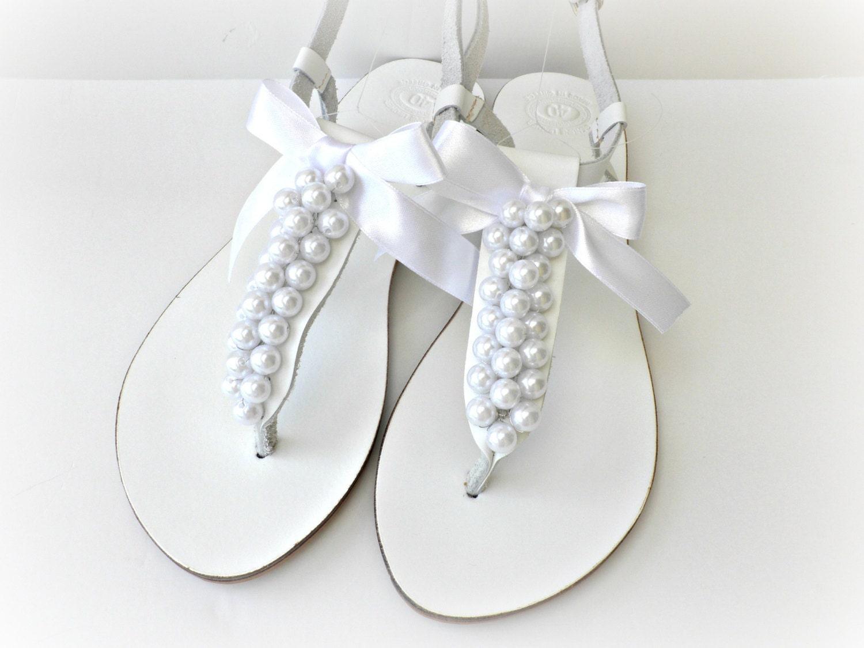 Wedding sandals White sandals with white pearls Beach