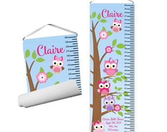 Owl Personalized Growth Chart - Pink Purple Owls, Tree Branch, Cute Woodland Owls, Girls Owl Growth Chart - Kids Personalized Gift under 50