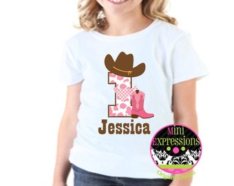 Cowgirl Birthday Shirt Personalized