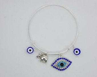 Evil eye silver womens bangle bracelet, evil eye blue bracelet, evil eye and elephant bangle bracelet, evil eye rhinestone bangle bracelet