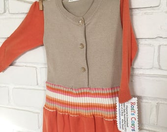 Toddler Girl sweater dress, tan/orange stripes, Cozy Cotton, Upcycled sweater baby girl dress, striped cotton dress, baby girl sweater dress