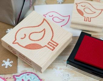 Winter Robin Christmas Rubber Stamp - Christmas Craft - DIY Christmas Card - Stocking Stuffer - Bird Rubber Stamp - Robin Gift - Holidays