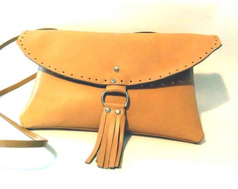 Camel Italian Leather Simone Tassel Clutch or Cross Body Handbag